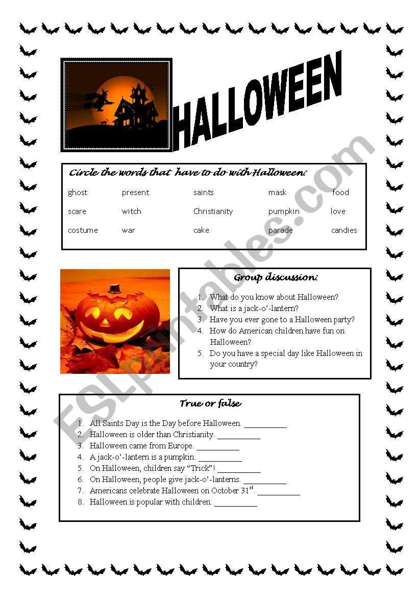 The Halloween Story worksheet