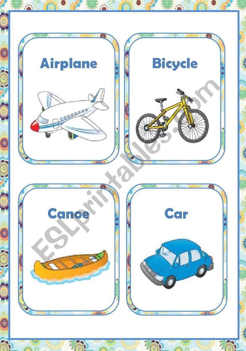 TRANSPORT - FLASH-CARDS worksheet