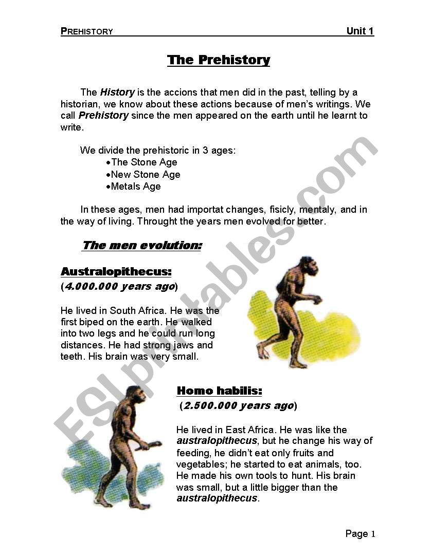 The Prehistory worksheet