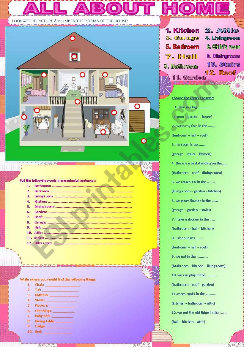 ALL ABOUT HOME worksheet