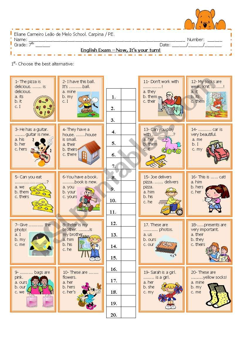 object and subject pronouns/ adjective possessive - multiple choice