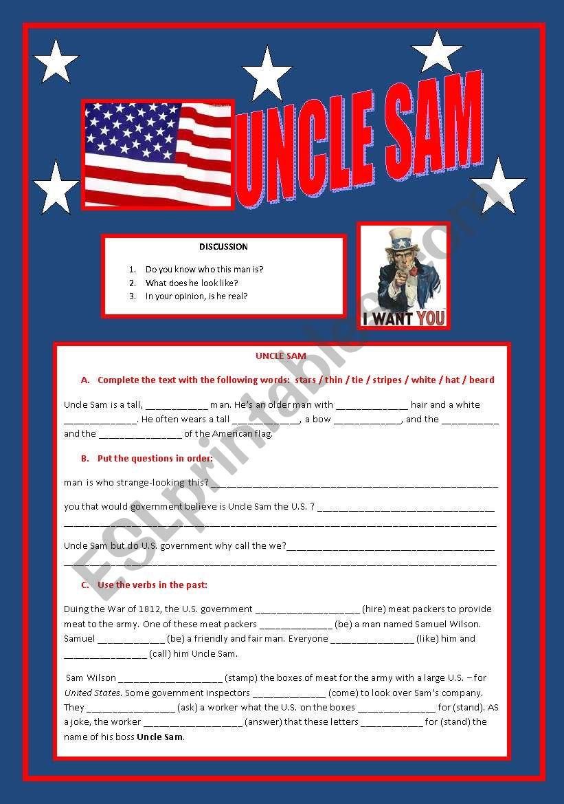Uncle Sam worksheet