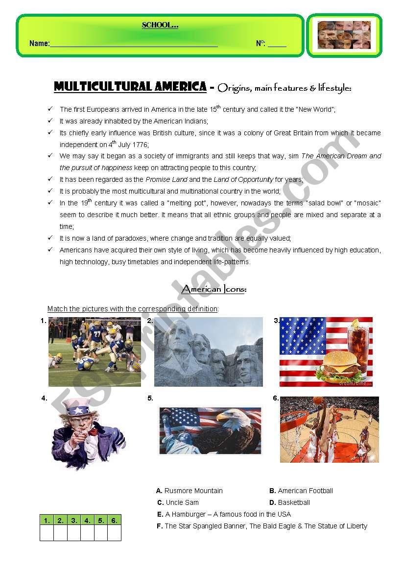 MULTICULTURAL AMERICA worksheet