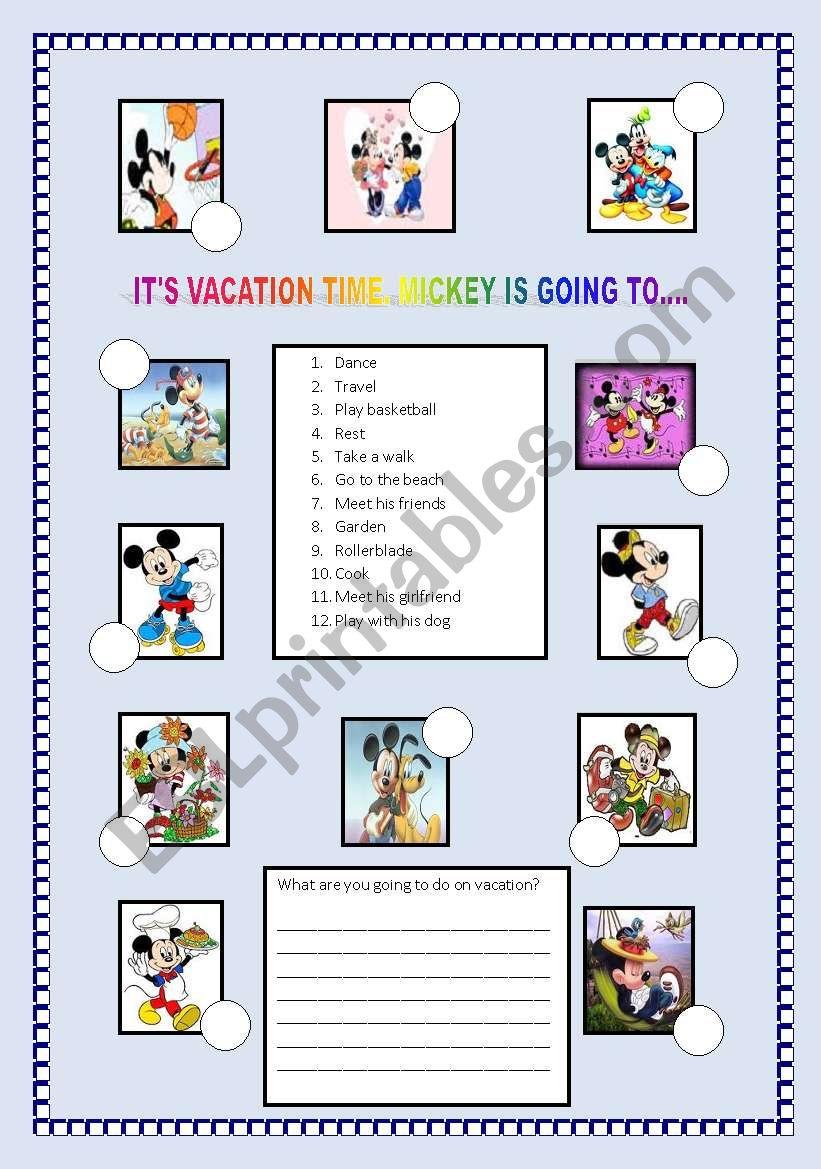 Mickey´s vacation worksheet
