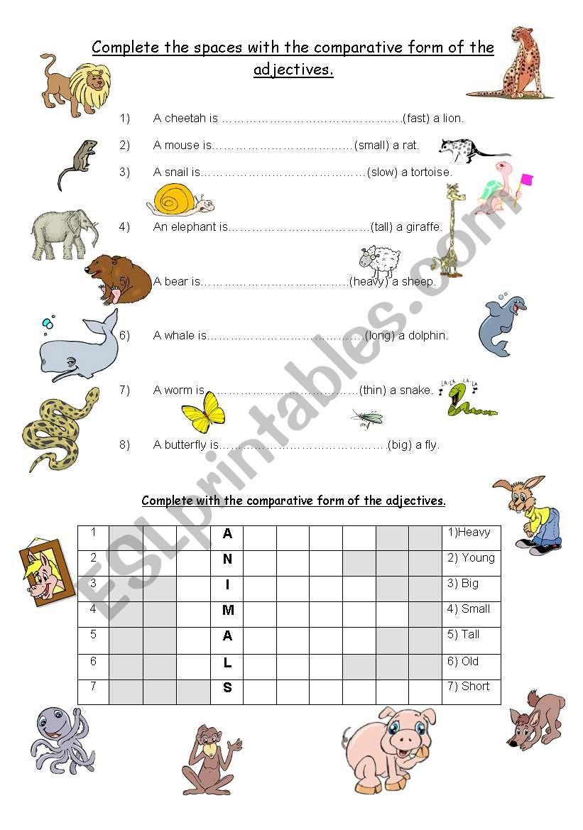 esl comparative adjectives worksheet pdf