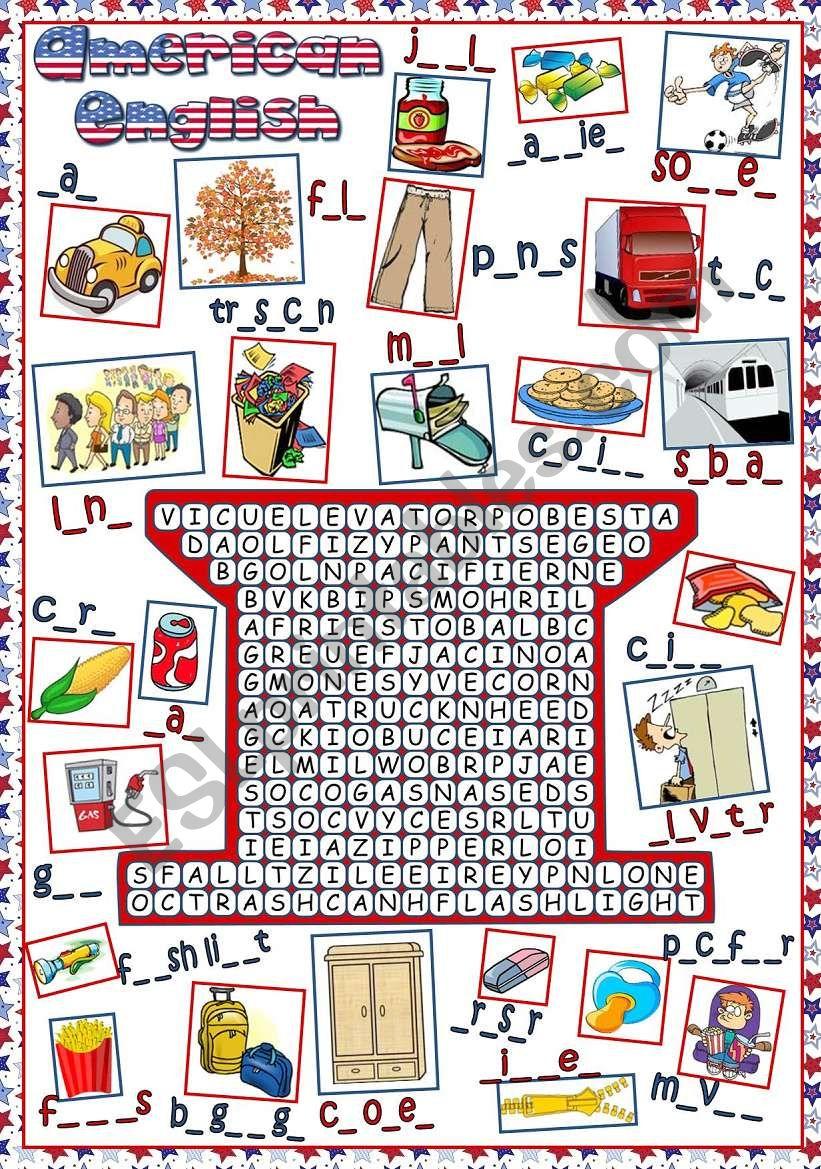 American English - WORDSEARCH worksheet