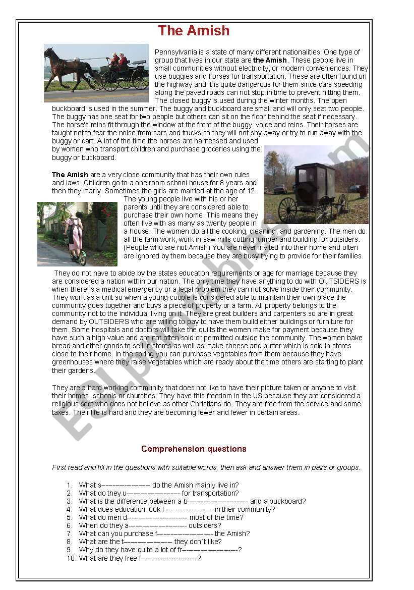 The Amish worksheet