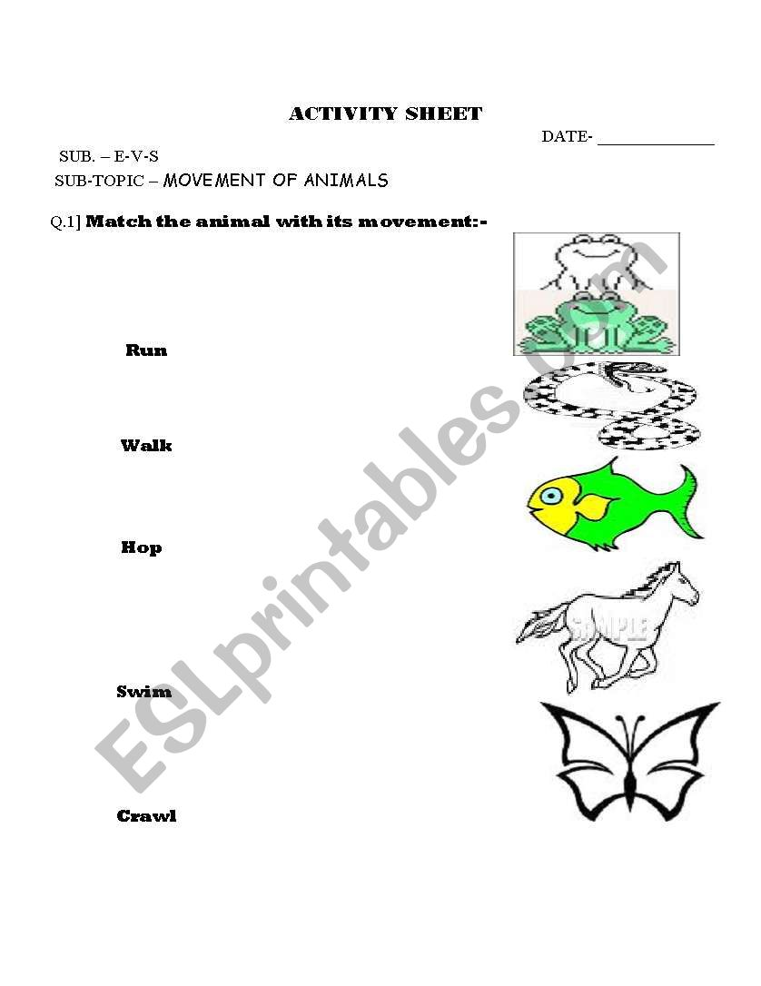 english worksheets movement of animals. Black Bedroom Furniture Sets. Home Design Ideas