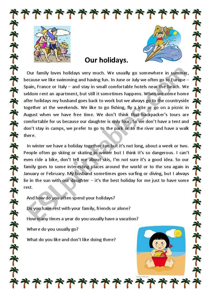 Our holidays worksheet