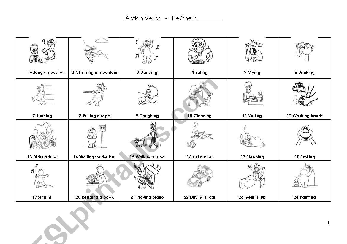 Action verbs and -ing form worksheet