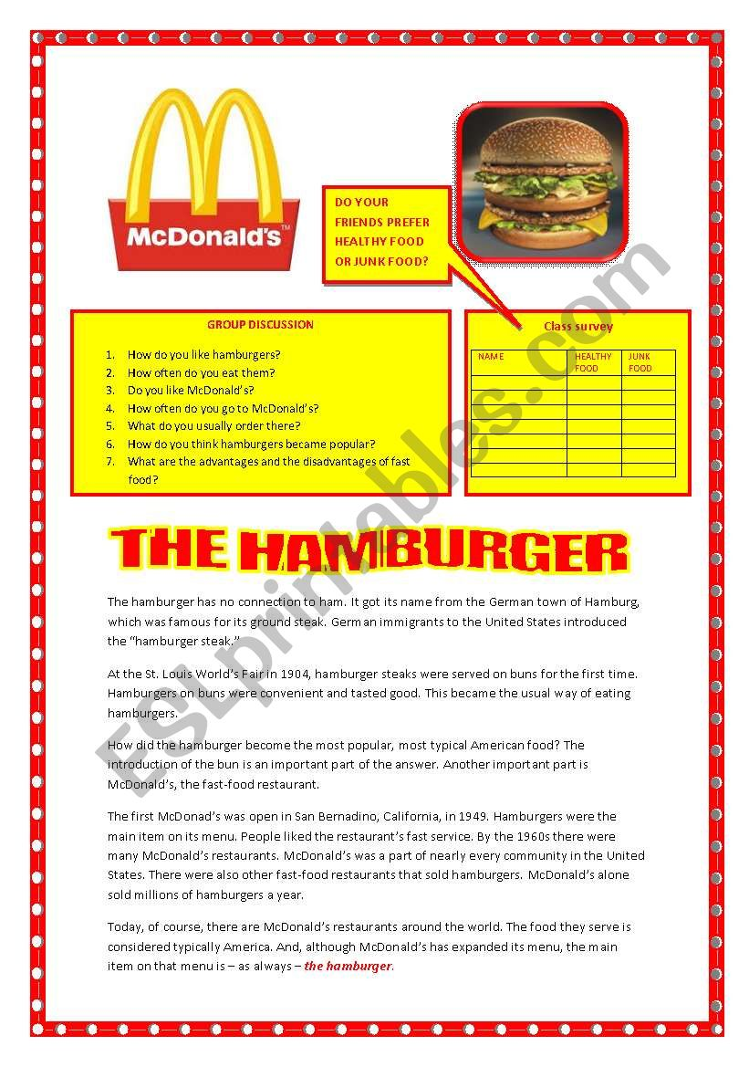 The hamburger worksheet