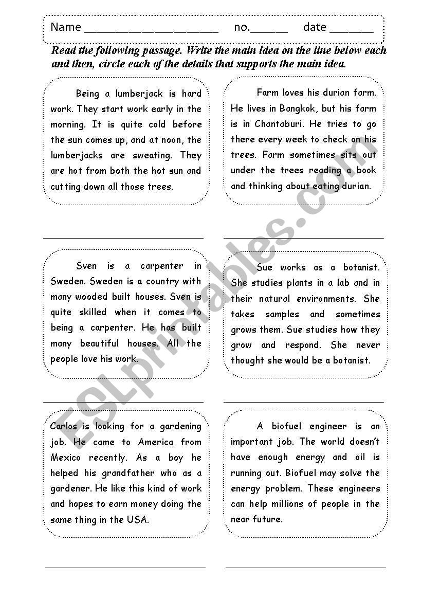 Worksheets Supporting Details Worksheet main idea supporting details esl worksheet by shamus worksheet
