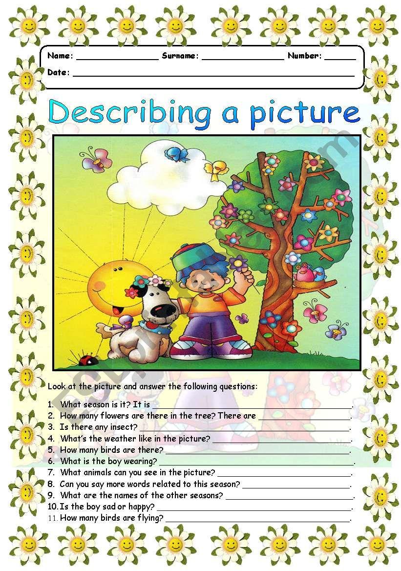 Describing a picture - Summer worksheet