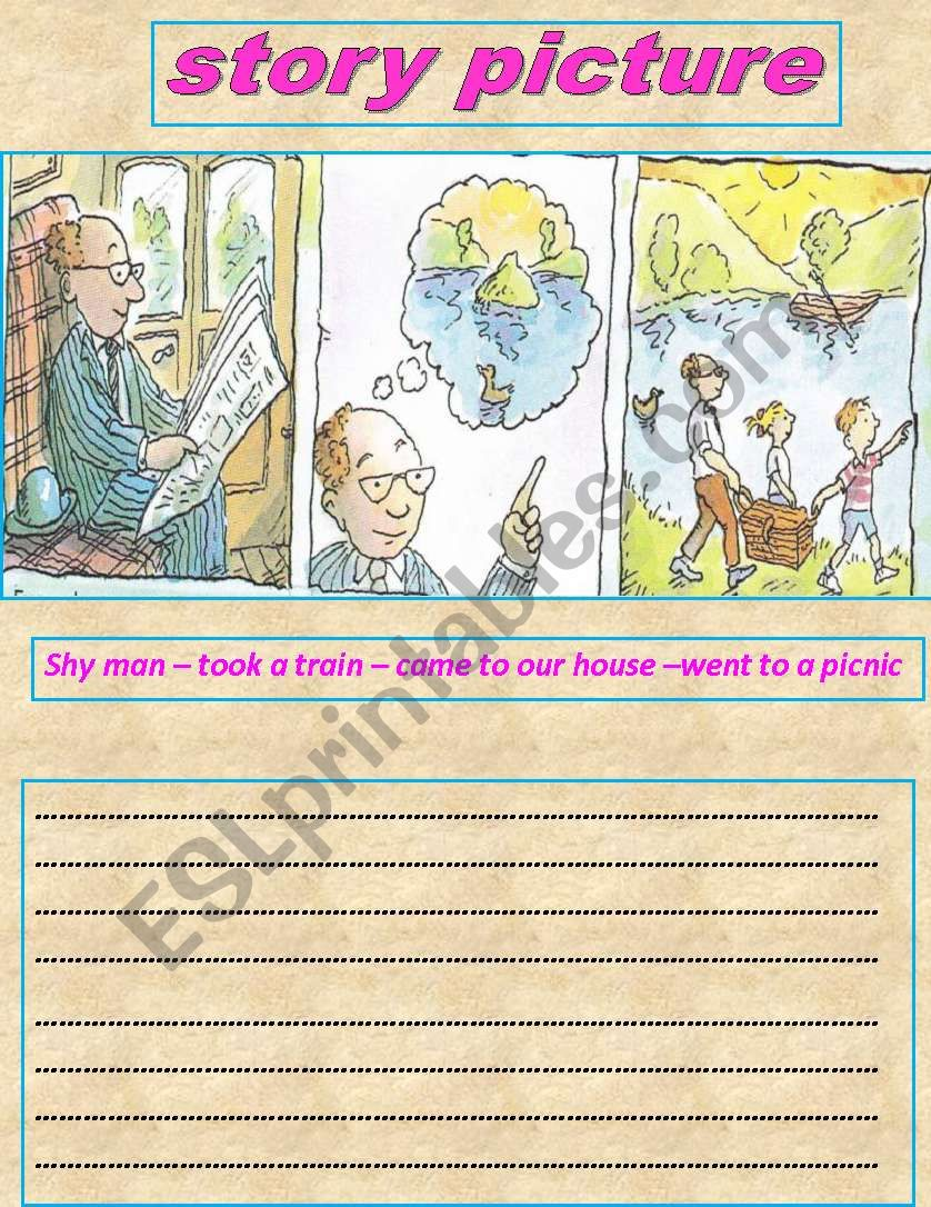 story picture  2 parts worksheet