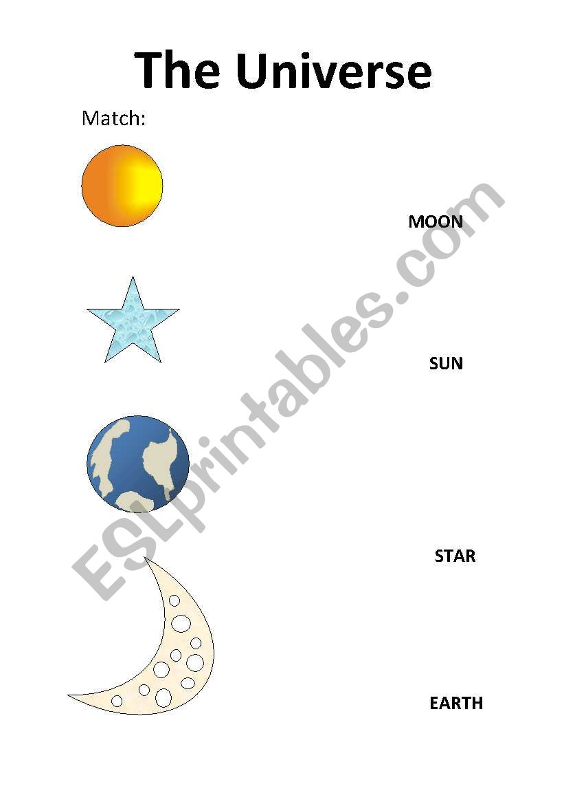 English worksheets: The Universe