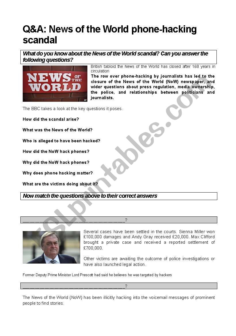News of the World Scandal (reading and video activity)