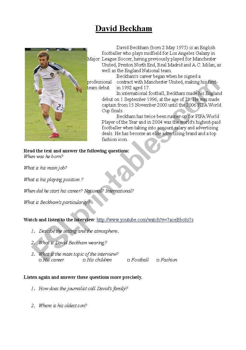 David Beckham _ Interview worksheet