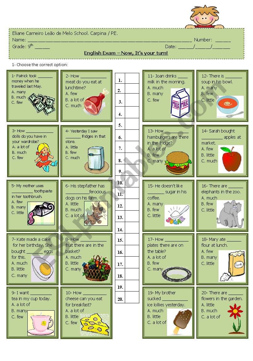 Quantifiers- multiple choice worksheet