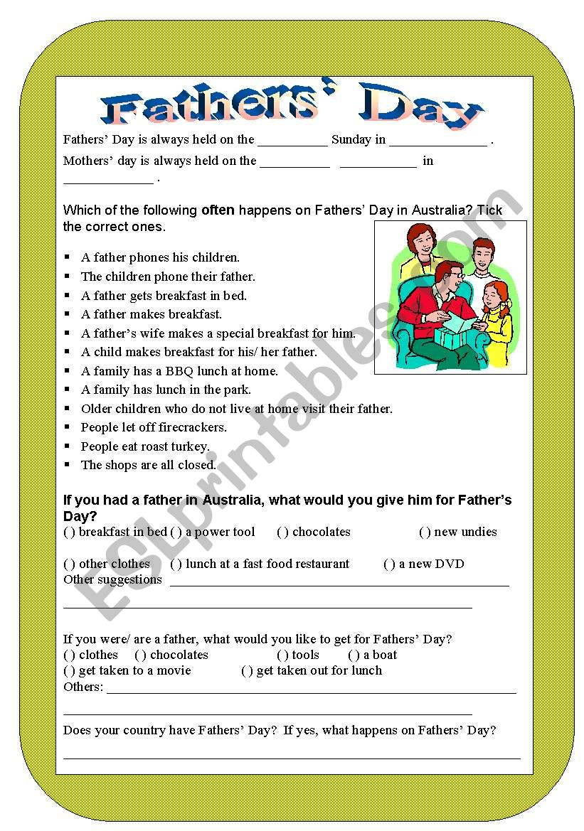 Fathers´ Day worksheet