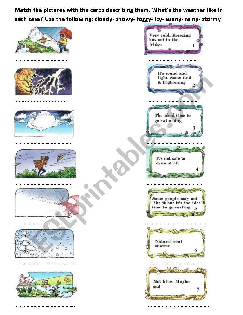 activities in each weather worksheet