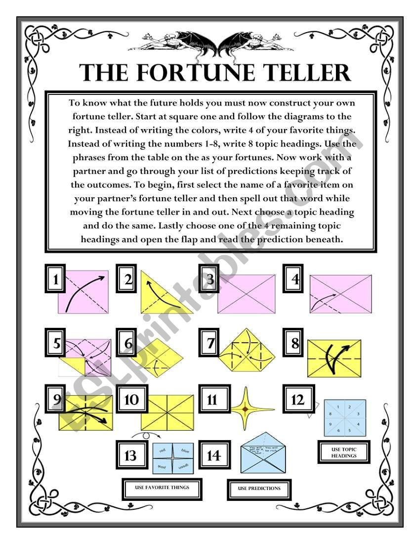Future Predictions - The Fortune Teller Wksht #3 - ESL worksheet by