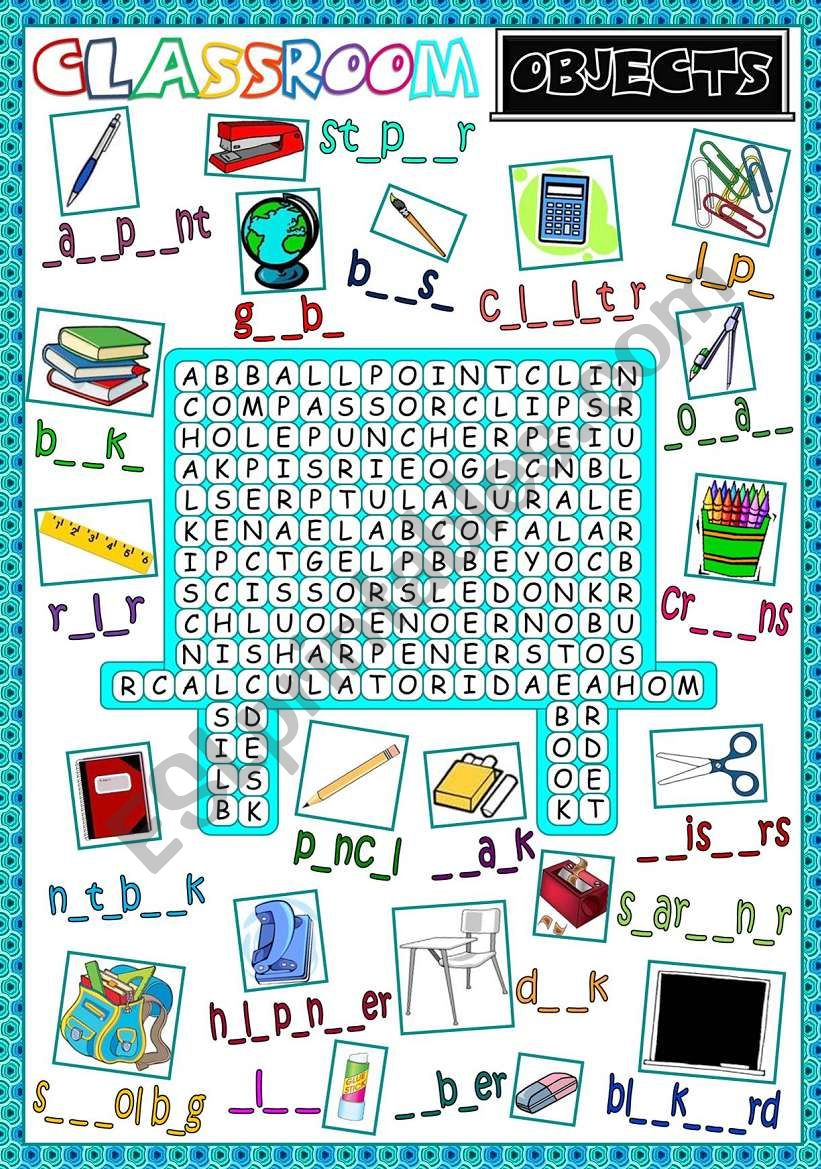 Classroom objects - WORDSEARCH (B&W included)