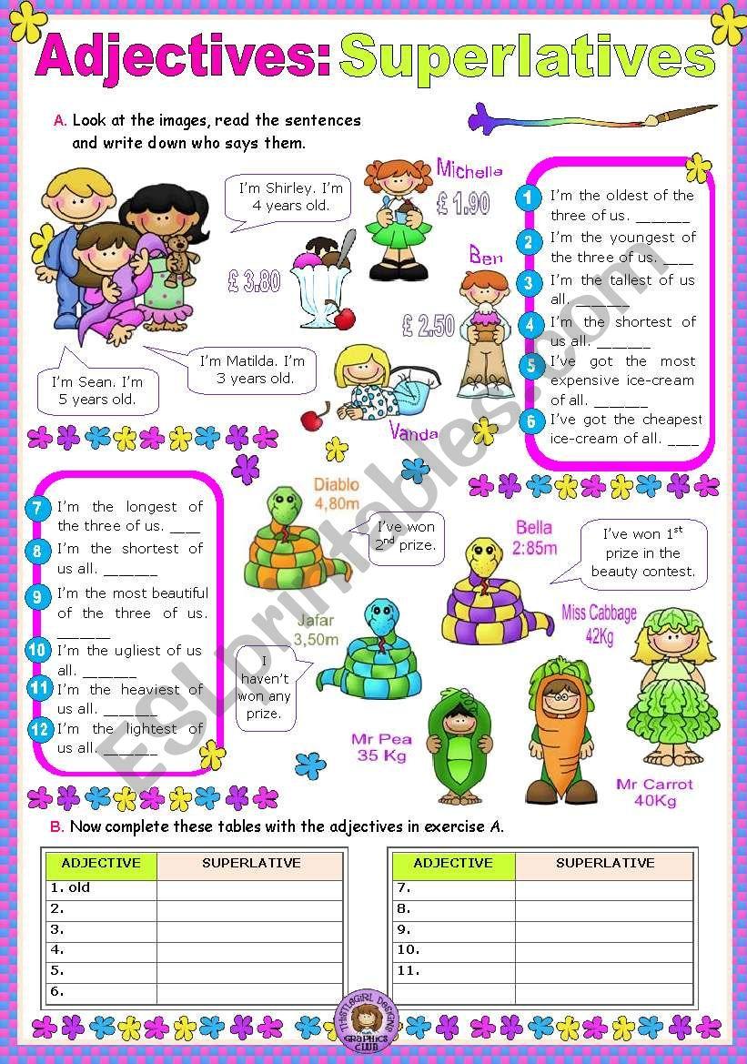 Adjectives:  Superlatives worksheet