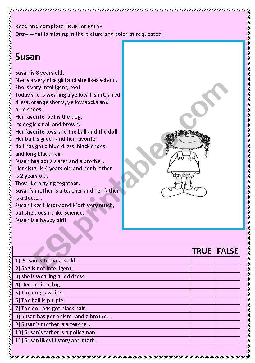 Susan worksheet