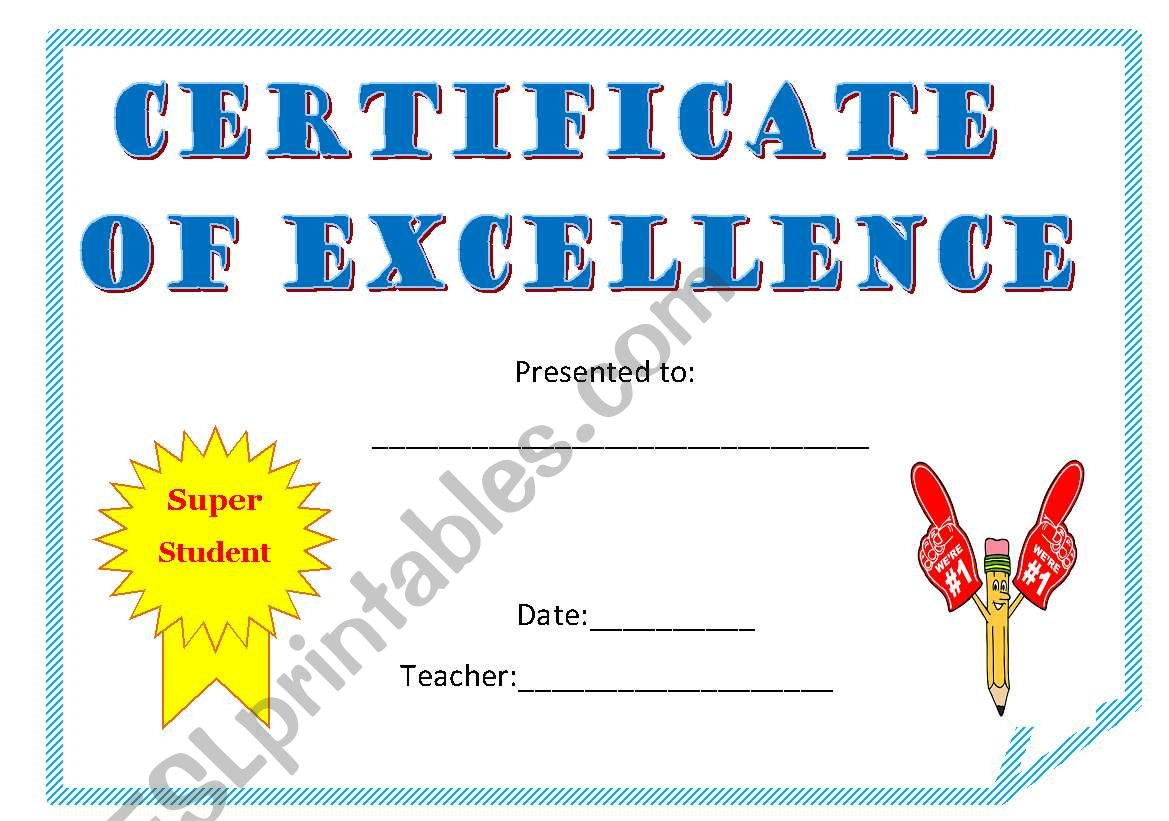 certificate of excellence worksheet