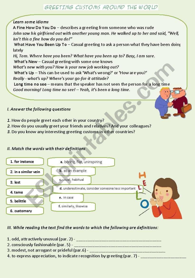 Greetings around the world esl worksheet by catherine shutik greetings around the world worksheet m4hsunfo