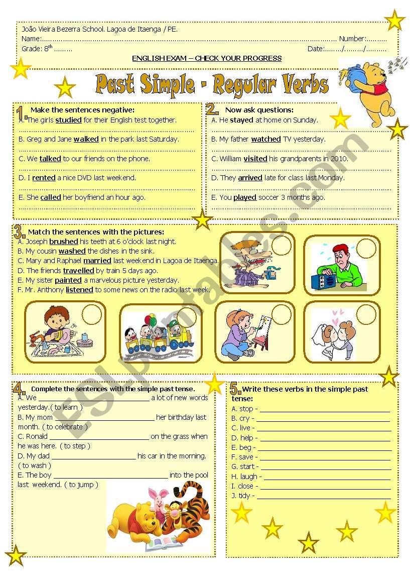 Past Simple- regular verbs worksheet
