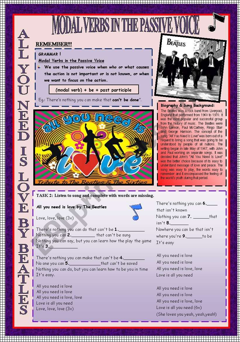 MODAL VERBS IN THE PASSIVE VOICE & SPEAKING & ROLE-PLAY THROUGH THE BEATLES´S SONG + KEY INCLUDED.