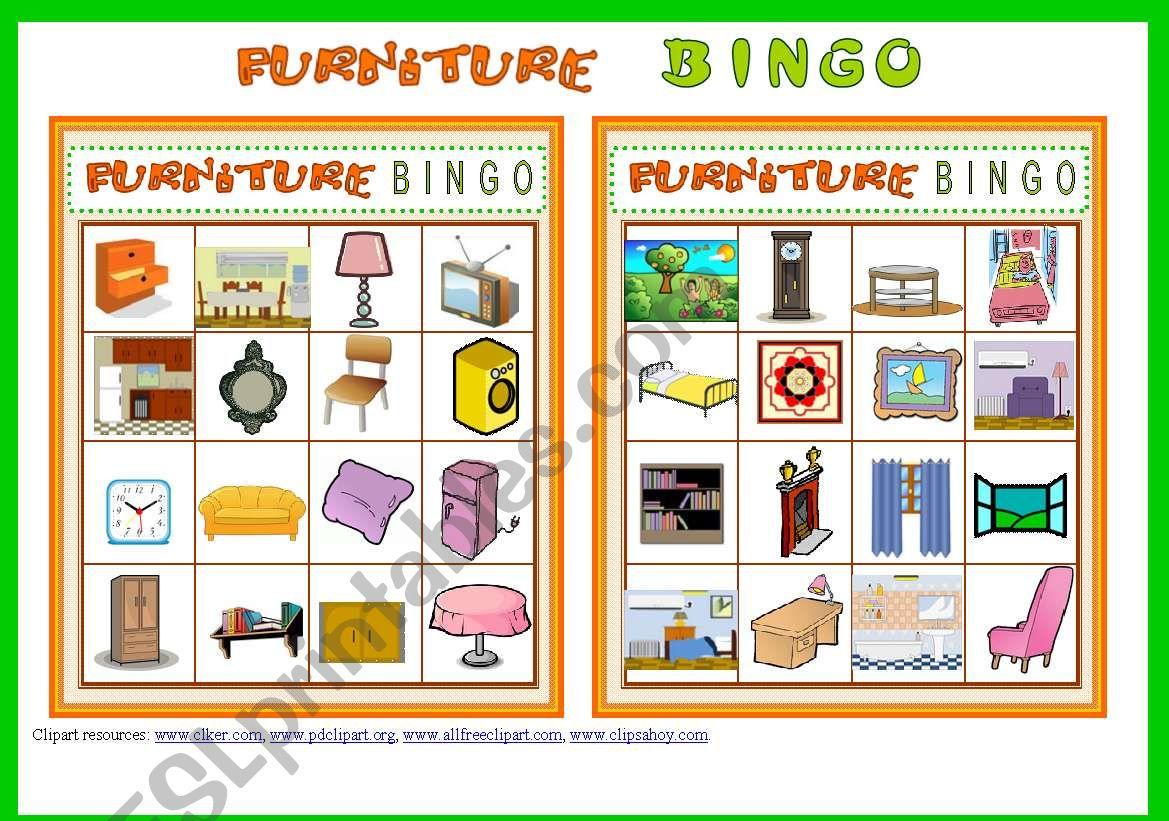 FURNITURE BINGO Game # 10 cards # Vocabulary ist # Bingo Instructions #  fully editable