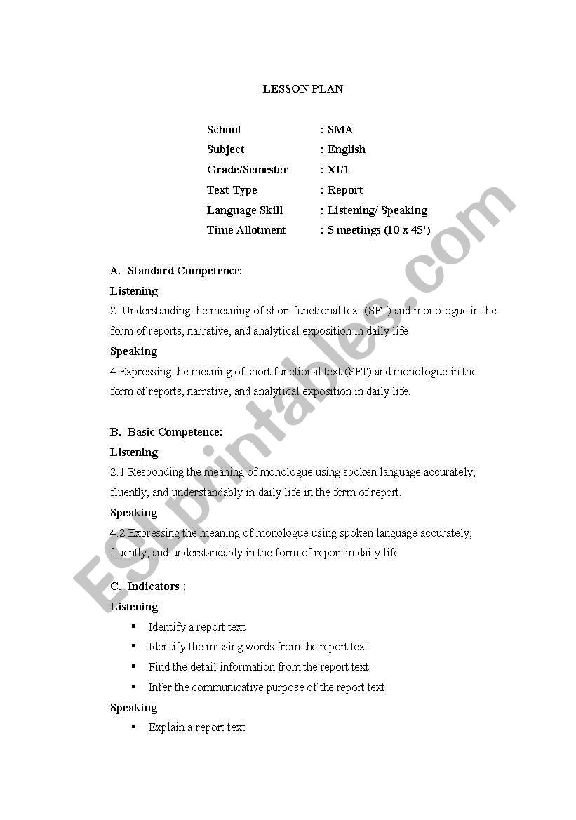 English worksheets: Lesson Plan for Senior High School Grade XI
