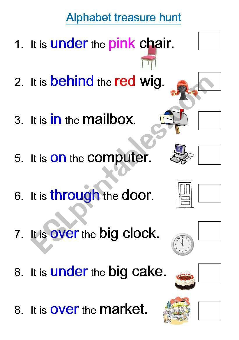 Alphabet treasure hunt worksheet