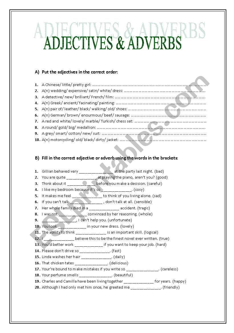 Adjectives vs. Adverbs worksheet