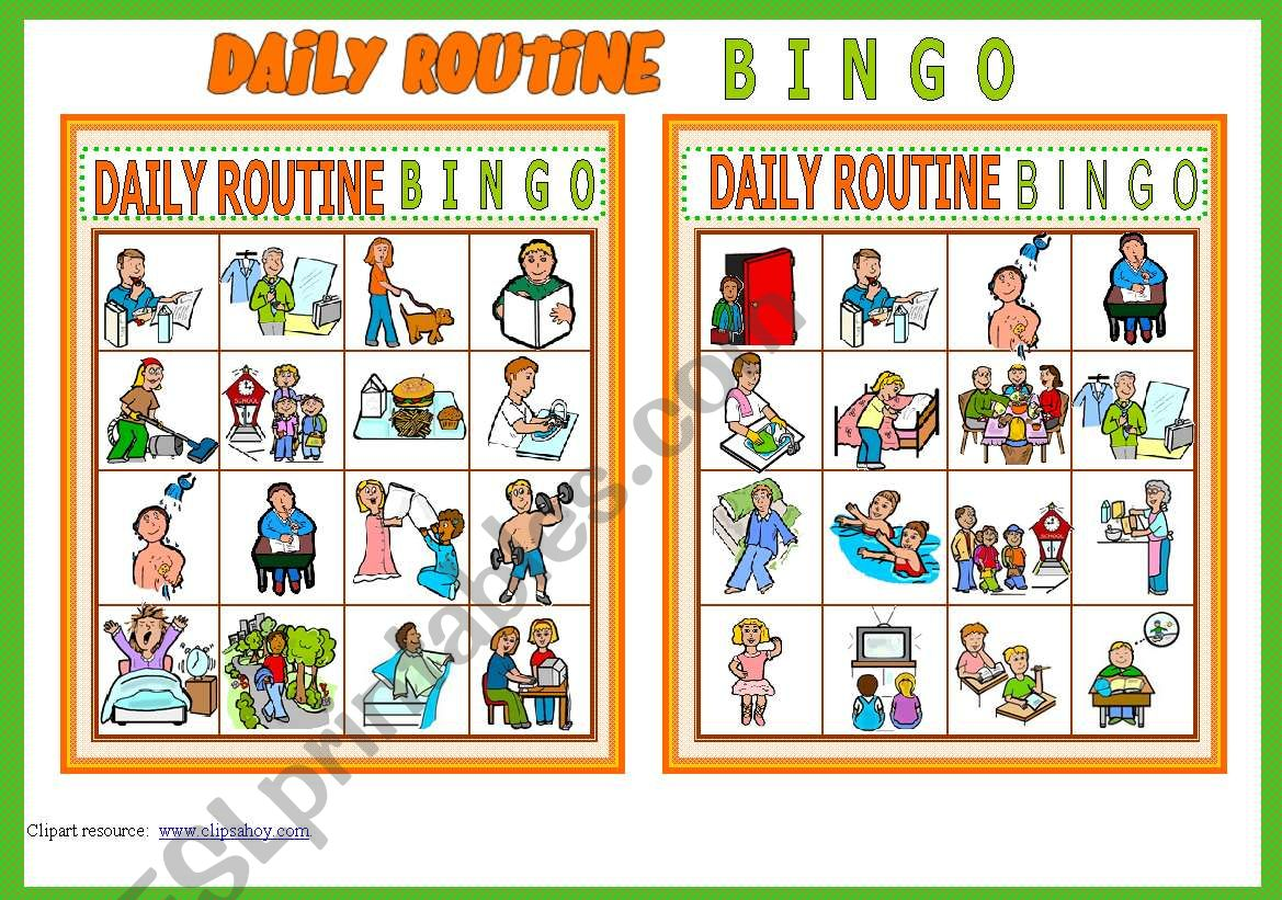 DAILY ROUTINE BINGO Game # 10 cards # List of Vocabulary # Instructions # fully editable