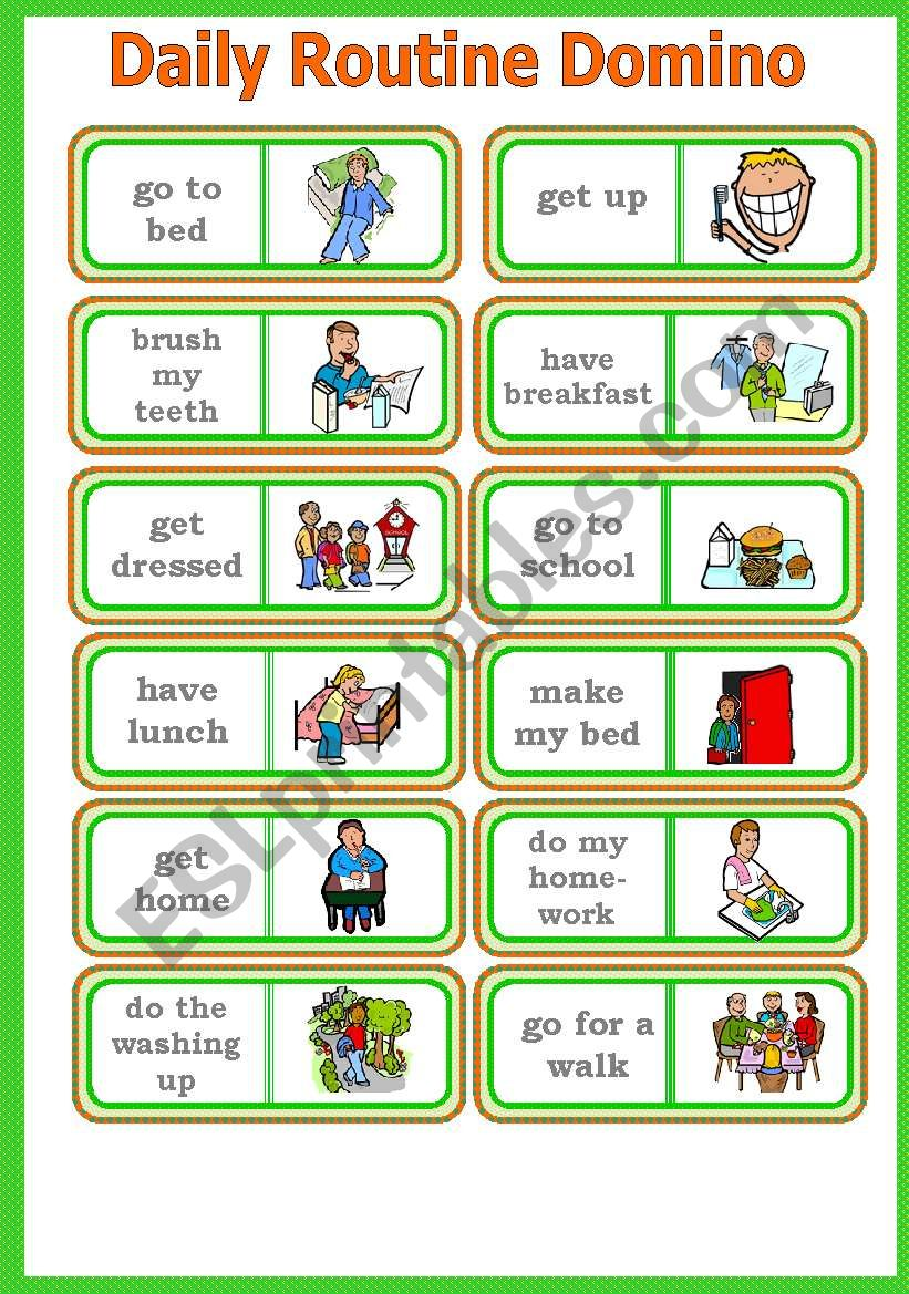 Daily Routine Domino Game Instructions Fully Editable Esl