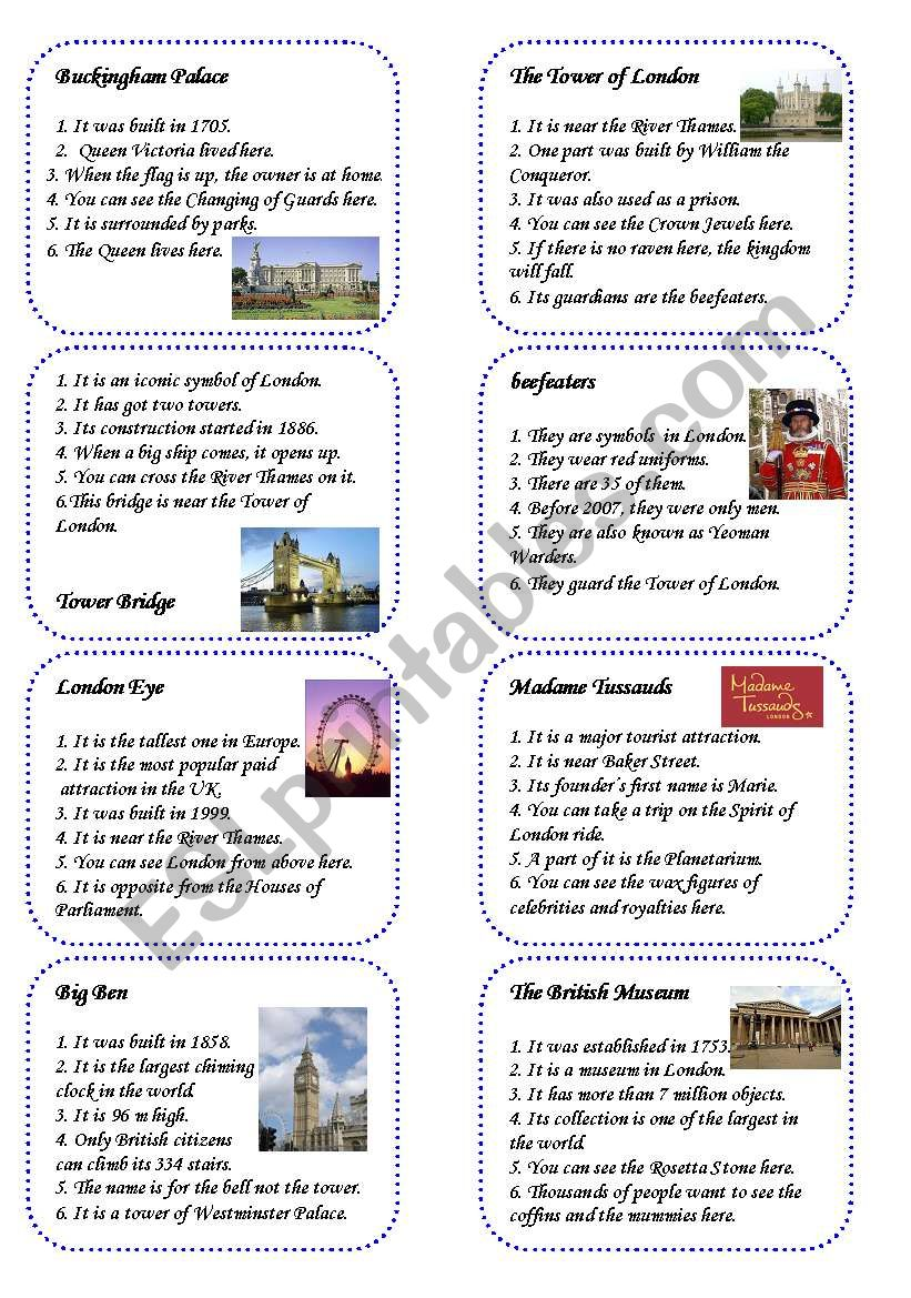 Game Cards 3 16 Sights Of London Esl Worksheet By Adrieth