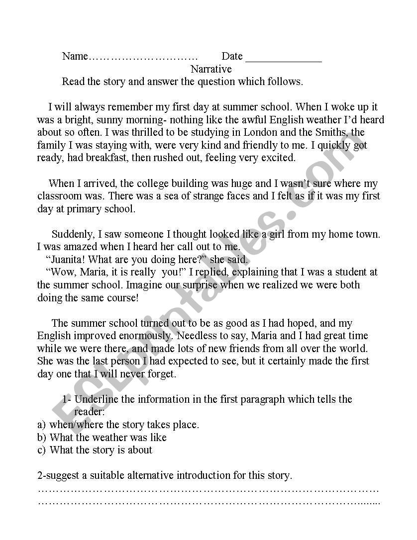 narrative reading and writing - ESL worksheet by amanytharwat