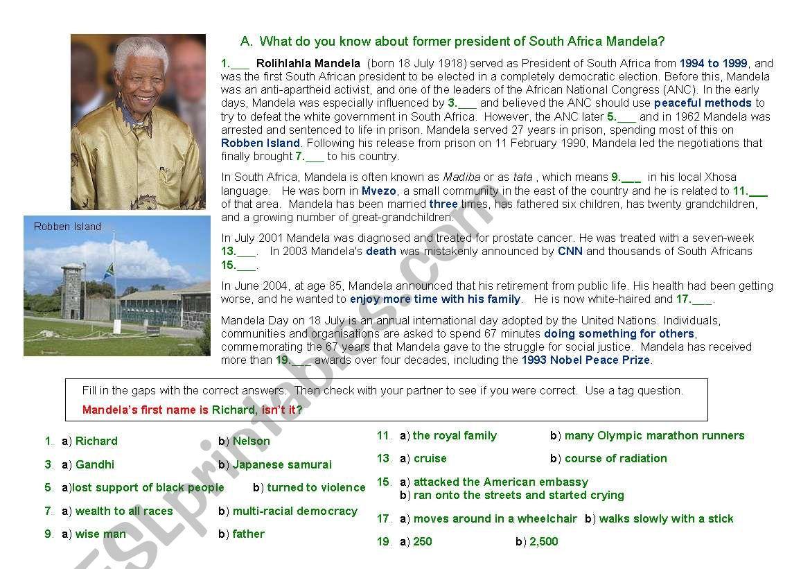 Nelson Mandela pairwork worksheet