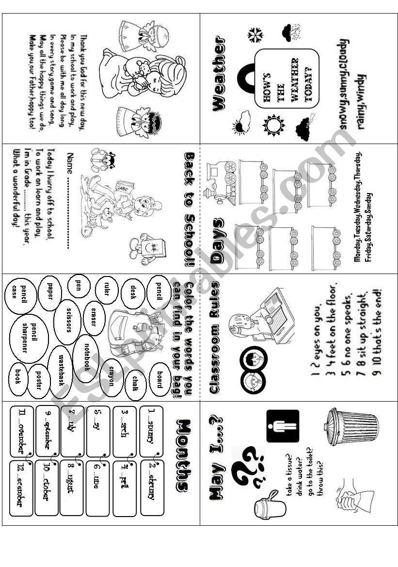 Back to School (minibook) worksheet
