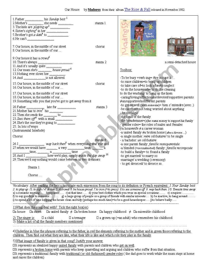 Our house by Madness worksheet