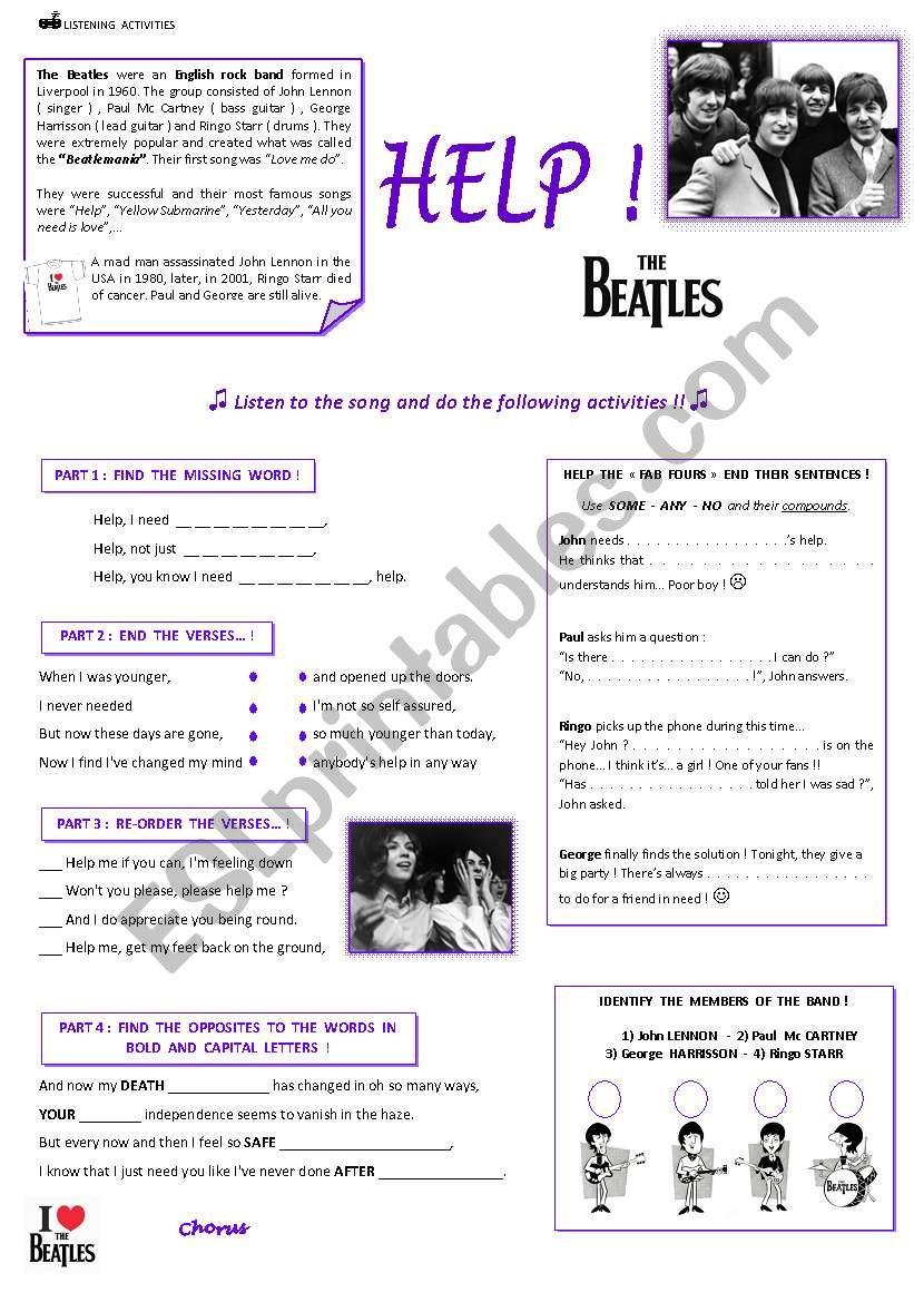 HELP ! The Beatles worksheet