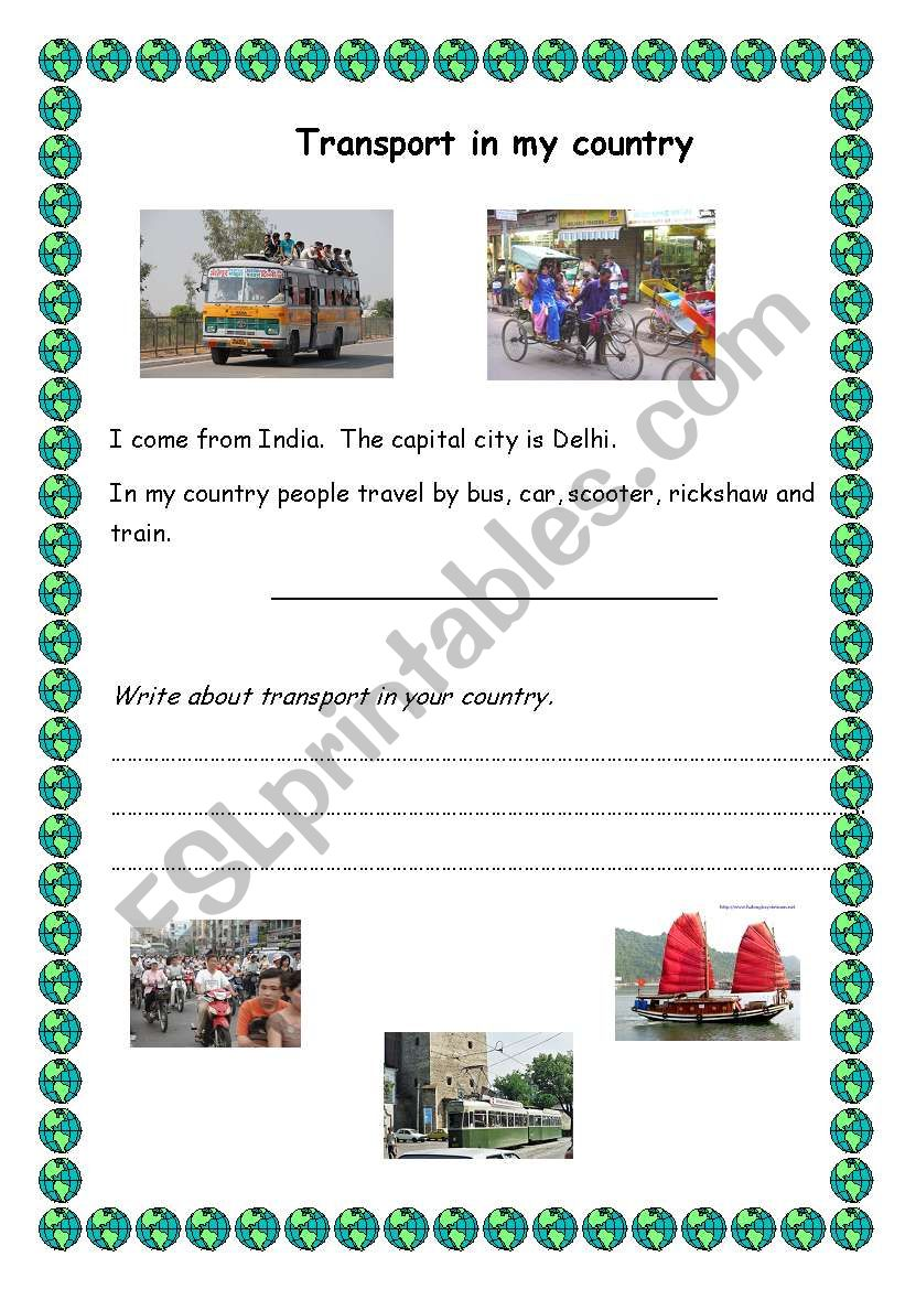 english worksheets  transport in my country