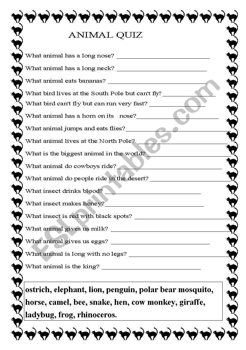 animal quiz esl worksheet by teacher0633. Black Bedroom Furniture Sets. Home Design Ideas