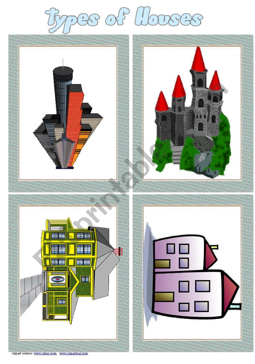 Types of Houses Flashcards Set 1 # 8 cards # list if houses