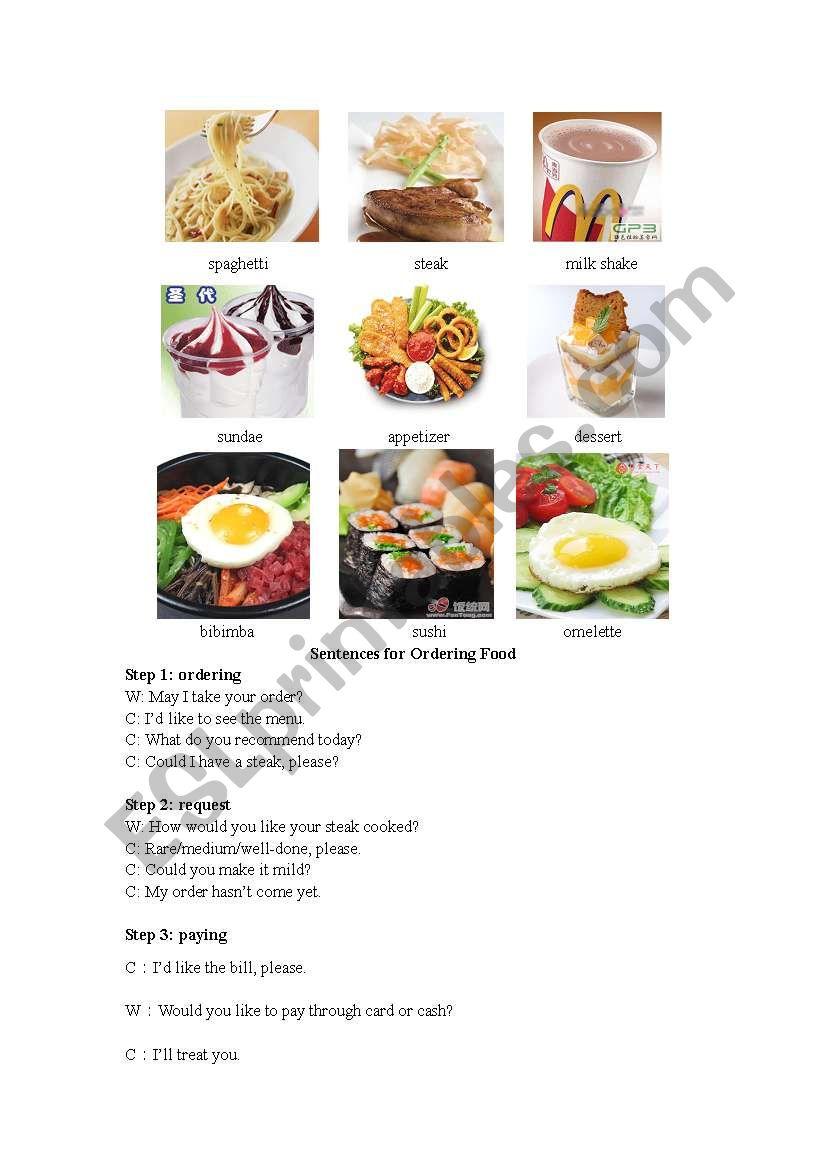 Ordering food (3 steps) worksheet
