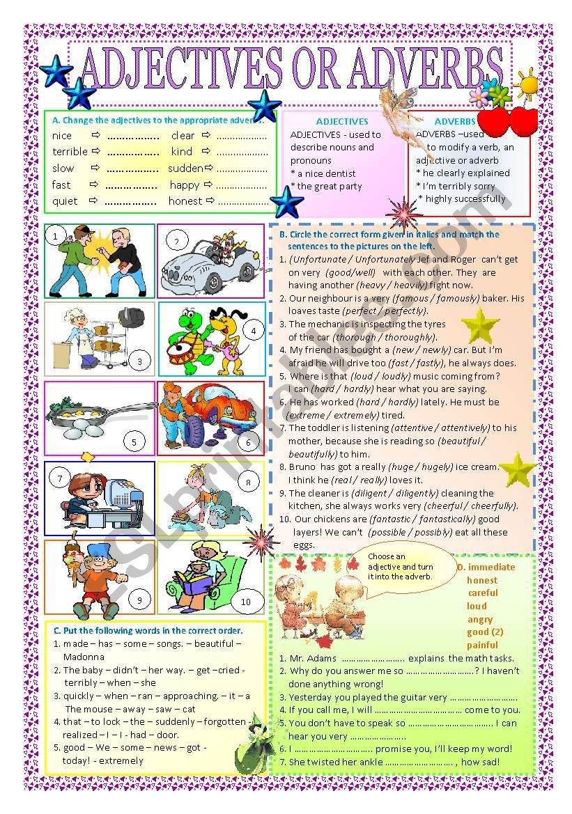 adjectives or adverbs + key worksheet