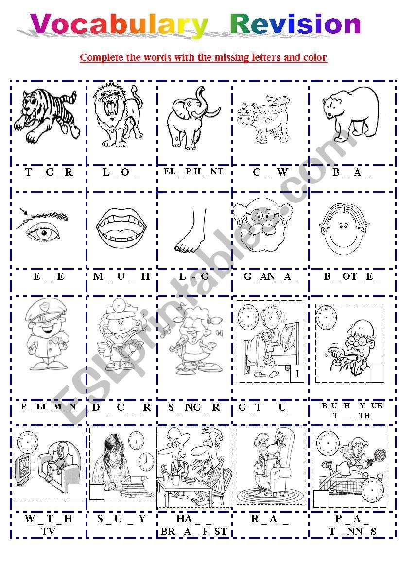 vocabulary revision worksheet